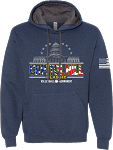 2020 Capitol Hill Classic Soft Spun Hooded Sweatshirt with Contrast Hood, Athletic Gray and Indigo Heather