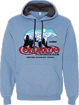 2020ne Colorado Crossroads Soft Spun Hooded Sweatshirt with Contrast Hood, Carolina Heather and Indigo Heather